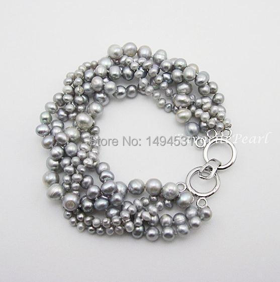 Wedding Pearl Bracelet , Gray Color Multistrand 7.7 Inches 5 Rows 3-8mm Gray Genuine Freshwater Pearl Bracelet - Free Shipping
