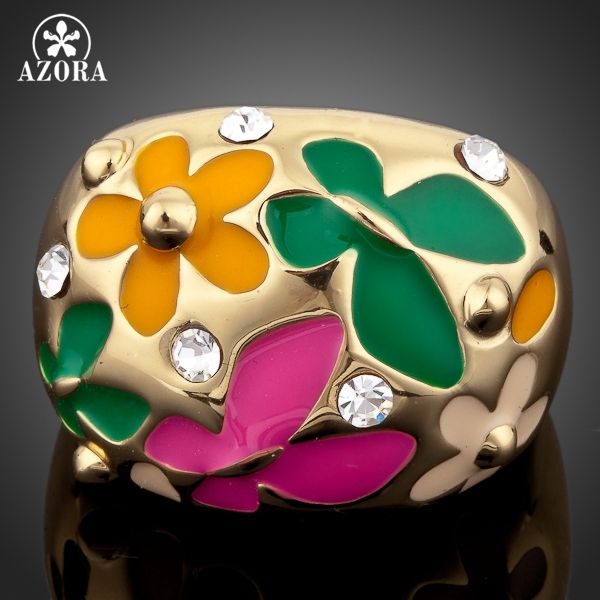 AZORA Gold Color Flower and Butterfly Oil Painting Pattern Ring TR0053
