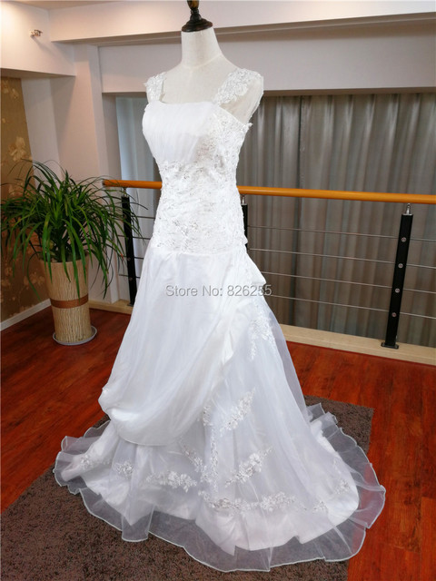 In Stock Free Shipping Cheap Hot Sale White/Ivory Appliques A-lineTaffeta Wedding Dresses/Gowns with Appliques WD0340