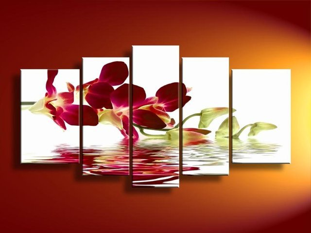 hand-painted  oil wall art Water red flowers  beauty home decoration  paintings for living room wall 5pcs/set frame