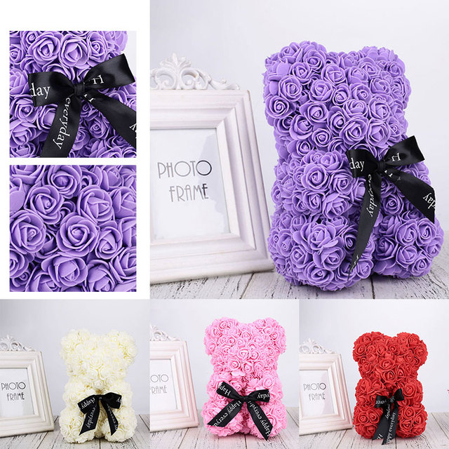 2019 PE Artificial Rose Lovely Wedding Bear Dolls for Valentine'S Day Drop Shipping