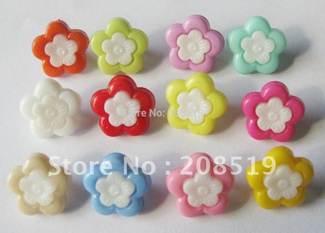 NB0095 fashion buttons mixed 400pcs 15mm colorful flower shape combined craft button