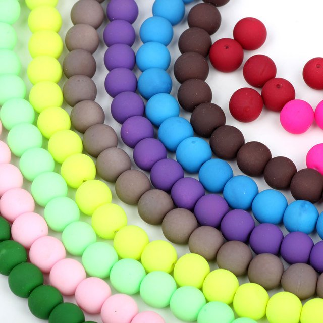 OlingArt 8MM 50pcs/lot Glass Rubber Round beads Mixed colors Bracelet DIY Earrings Necklace Jewelry Making