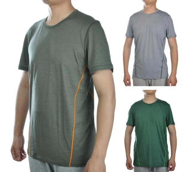 Men New Fine Merino Wool Blended T Shirt Athletics Short Sleeve Lightweight Athletics Summer Breathable  Cool Tee