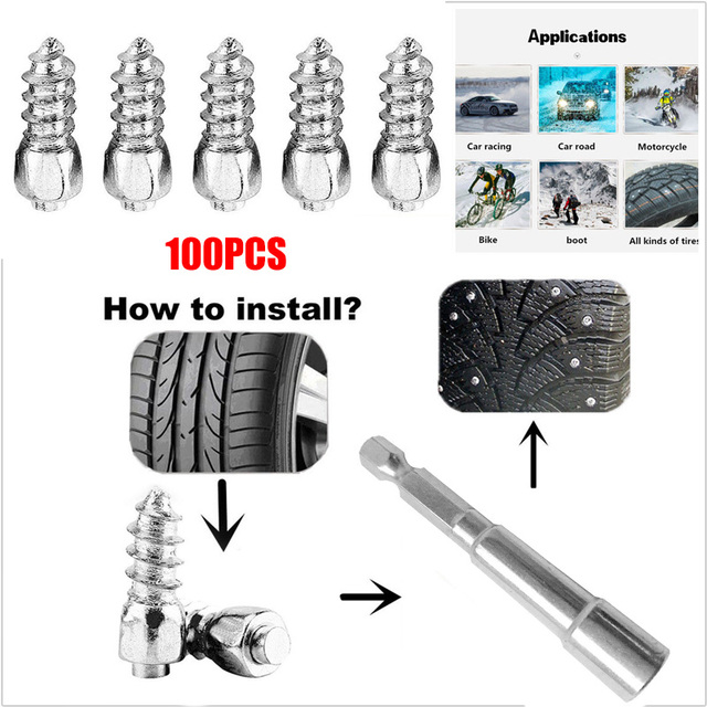 Tyre Screw Parts Anti Slip Tool Practical Vehicles Trucks Tire Spikes Metal 1.2x0.4cm 100Pcs Car Accessories Lorry Wrench