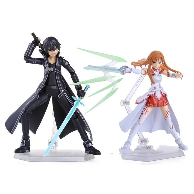 2pcs/lot 15cm Anime Sword Art Online SAO Kirito & Asuna Figure Kirito Kazuto Figma Asuna Figma PVC Action Figures Model Toys
