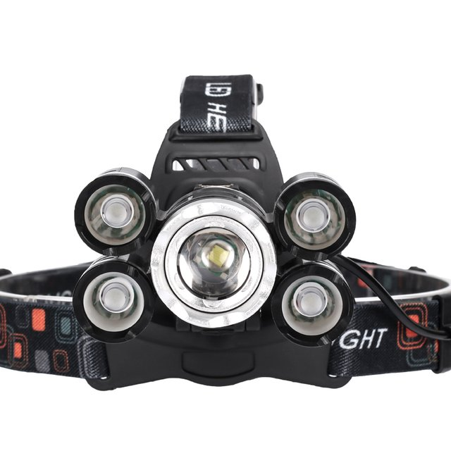 50000LM Ultra Bright Headlamp 5LED Rechargeable ZOOM LED Headlight Led Flashlight Head Torch Lantern Fishing Use 18650 Battery