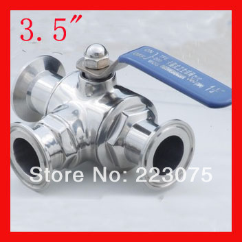 """New arrival 3.5"""" SS304 Stainless steel T/L port three way clamp Manual quick install  ball valve Tube Fitting Homebrewing & Beer"""