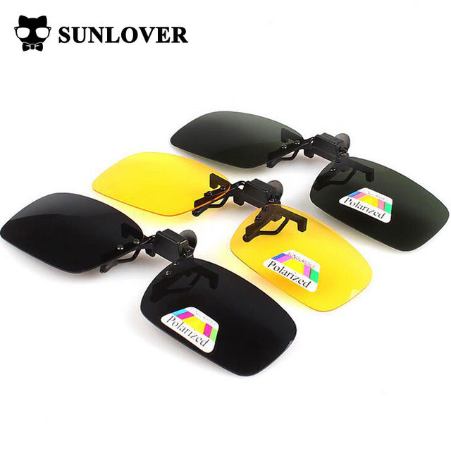 Drop Shipping Portable Polarized Clip On sunglasses Driving Night Vision Lens Polaroid clip sun glasses ,both for women and men