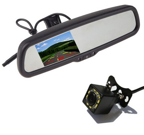 """Parking Camera with Car Monitor Mirror Car Rear View Camera Car Bracket Monitor with 4.3"""" TFT LCD Rearview Reverse Assistance"""