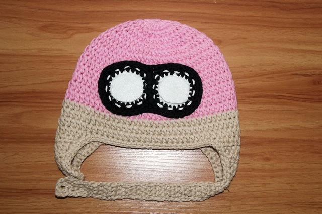 free shipping, 100% cotton Handmade crochet girls Pilot hat , pink airplane bomber hat with glasses children's  aviator hat caps