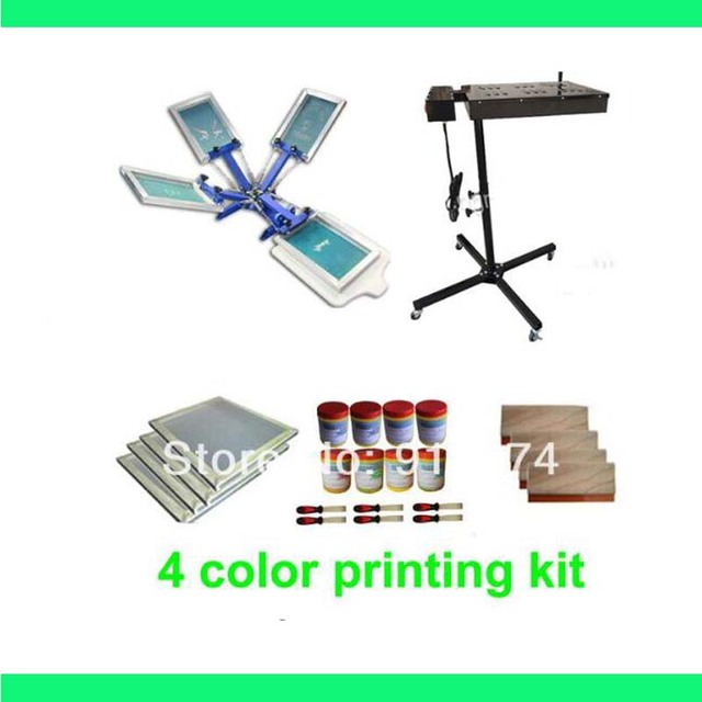 FAST FREE shipping 4 color silk screen printing kit flash dryer plastisol ink t-shirt printer stretched frame squeegee