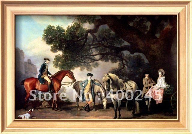 Horses oil painting canvas art Melbourne and Milbanke Families by George Stubbs reproduction 100%handmade +High quality