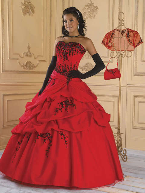 2018 Embroidery New Red and Black Ball Gown lace up beading evening prom gown bridal Gowns Custom Mother of the Bride Dresses