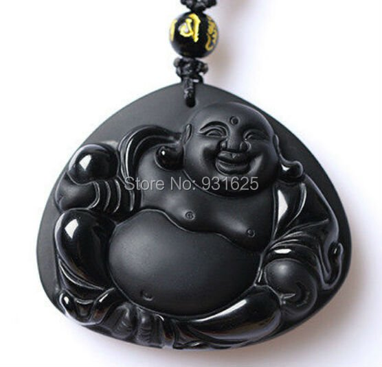 Fashion Natural Black Obsidian Carved Unique Laughing Buddha Lucky Pendant Free Amulet Necklace Fine Crystal Jewelry