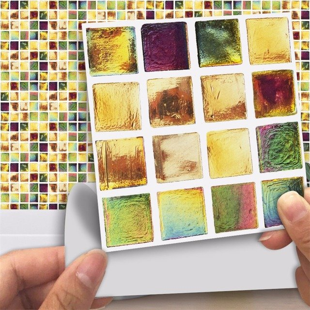 Yanqiao Pastoral Style Colorful Mosaic Background Decoration Creative Kitchen Oil Resistant Waterproof Tiles Wall Sticker Decor