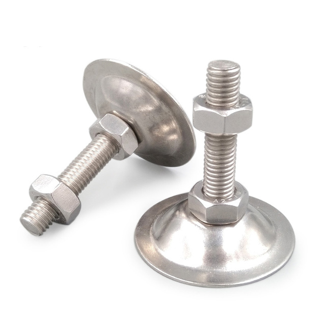 1Pcs M6x(40mm-150mm L) 304 stainless steel Foot cup screw horn adjustable flat support table bolts Head 53mm White