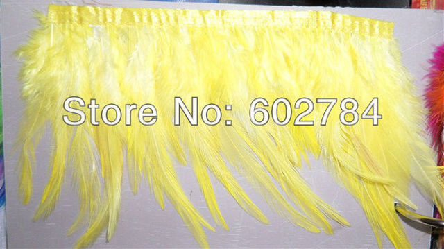 """Free Shipping 10meters Height 4-6"""" (8-15cm) Yellow Rooster Hackle Feather Rooster Feather tail Trimming Fringe"""