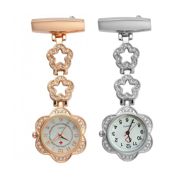 Clip-on Women Pocket Watch Fob Quartz Brooch Hanging Nurse Pin Watch Crystal Hollow Star Alloy Pocket Watch Clock TT@88