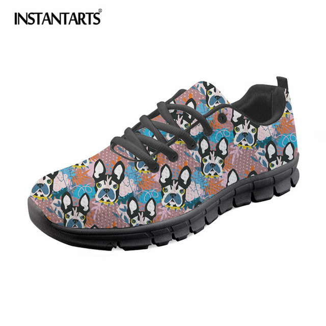 INSTANTARTS Abstract  French Terrier Printed Women Casual Mesh Sneaker Shoes Fashion Lace Up Flat Shoes Ladies Breathable Flats