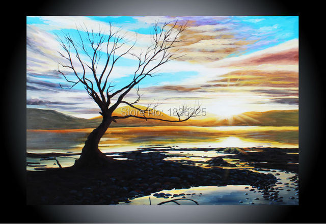 wall sticker canvas painting landscape sunset tree oil painting on canvas abstract oil painting wall pictures for living room