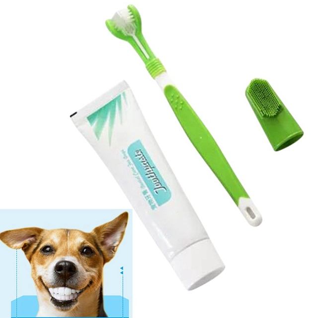 Pet Toothpaste Fingertip Toothbrush Kit for Cat Dog Oral Care Products Puppy Cat Teeth Cleaning Edible Toothpaste Random Color