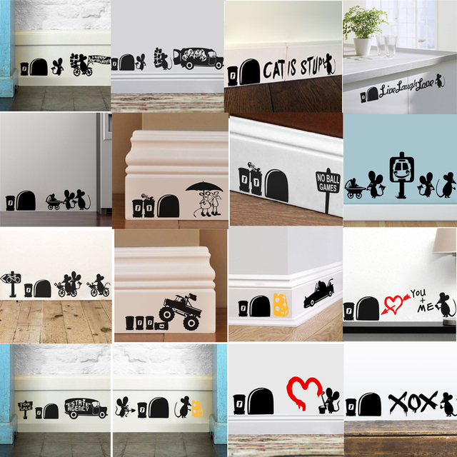 Black Mouse 3d Vivid Hole Car Wall Stickers Decal Home Decals Bedroom Decor