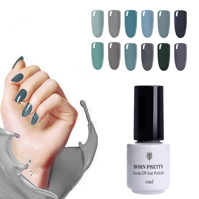 12 Bottles 5ml BORN PRETTY Nail Art UV Gel Polish Gray Series Pure Nail Color Manicure LED Lamp Gel Varnish Soak Off