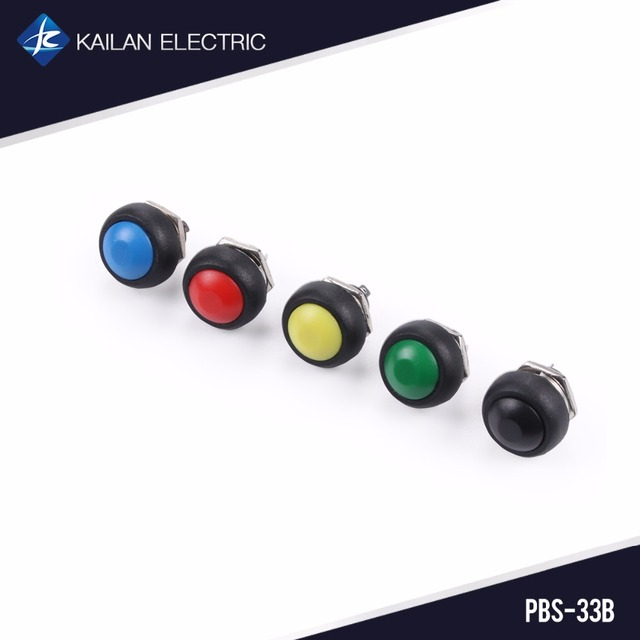 5PCS Momentary  Push Button Switch 12mm Self Reset Blue Red Yellow Green Black Switches PBS-33B Multicolor
