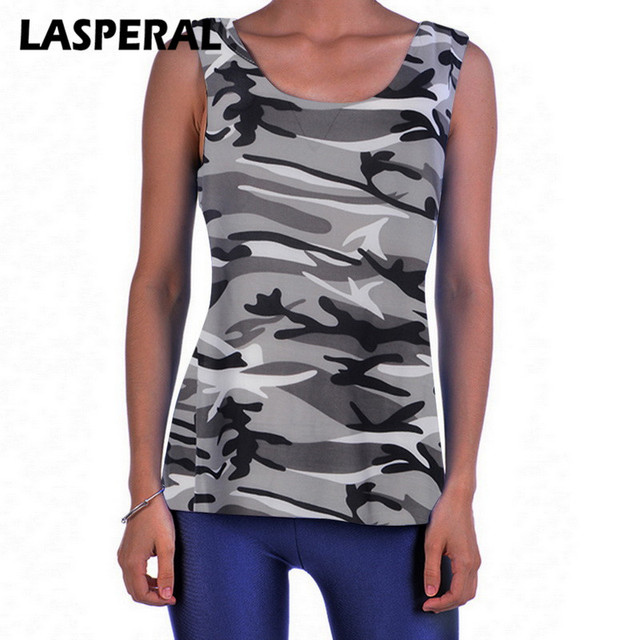 LASPERAL Camouflage Plus Size Tops Tank Women Summer Sleeveless Shirt Sexy Backless Vest Casual Ladies Fitness Camisole Tank 5XL