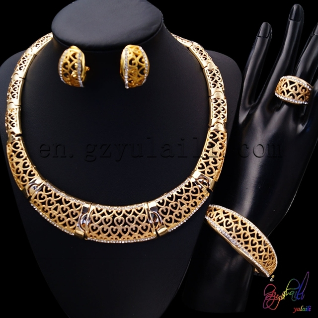 Yulaili Artificial Unique Design African Golden Cubic Zircon Anniversary Costume Women  Refinement Four Jewelry Sets