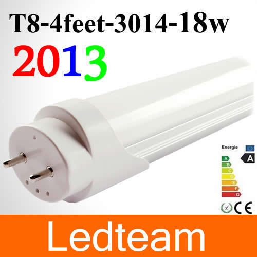 25pcs/lot LED Tube T8 1200mm 18W Light Lamp Pure White 1600-1800lm 85-265V Aluminum+PC Cover Free Shipping