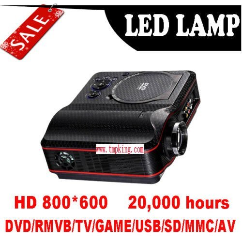 P006 NEW Portable Projector 1024x768 Home Theater EVD DVD MP4 RMVB Player with SD USB