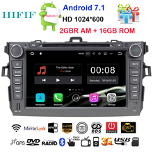 HIFIF 2 Din Android 7.12 Steering-Wheel For Toyota Corolla 2008 Quad Core Car DVD Player GPS Navigation Touch Screen Radio Audio