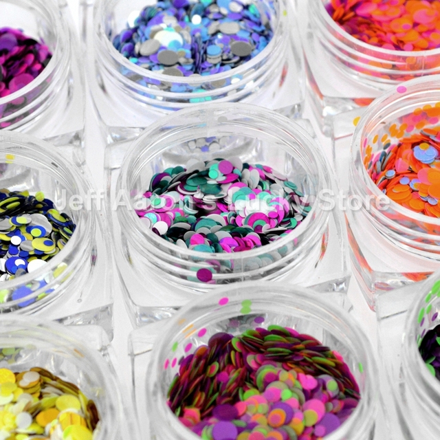 High Quality 12 Pots Mixed Sizes Round Glitter Nail Sequins Decals Beauty Nails Art Decoration Accessories Fish scales