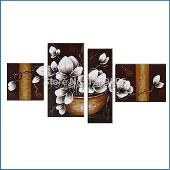 100% Hand-painted Wall Decoration Modern Abstract White Potted Flowers Oil Painting On Canvas 4 Piece Living Room Home Decor
