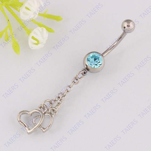 Belly button ring Dangle hearts Navel bar body piercing jewelry belly ring 14G 316L surgical steel Free shipping