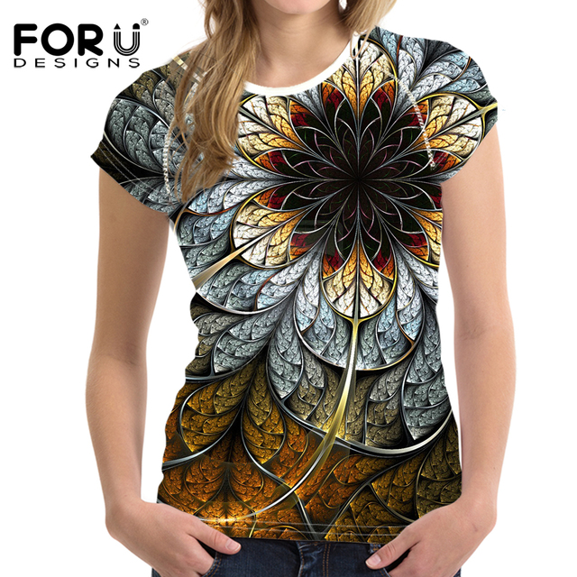 FORUDESIGNS Women Tops Tees 3D floral T Shirt  Retro T-shirts Femme T Shirt Woman Casual Tshirts Vetement Femme Female T Shirts