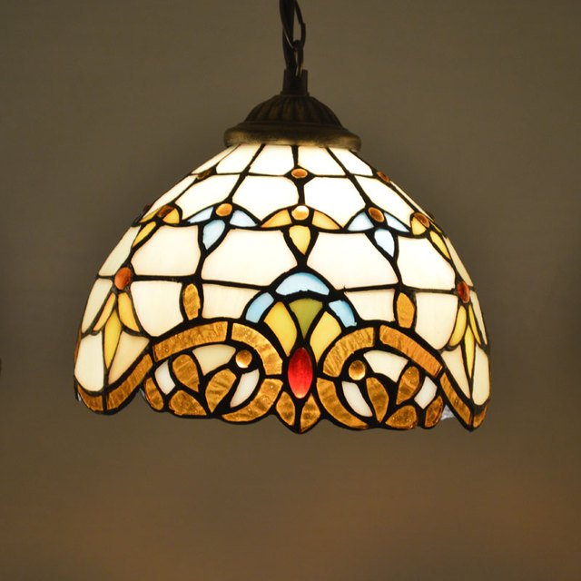 Tiffany Pendant Light Stained Glass Lampshade Baroque Style Dining Room Luminaires E27 110-240V