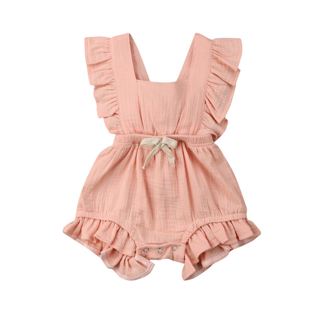 MUQGEW Girls Boutique Outfits Kids Clothes Newborn Infant Baby Girls Color Solid Ruffles Backcross Romper Bodysuit Outfits