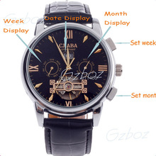 Dress Watches Men With Leather Strap Automatic Self-Wind watch Men Fashion Military Watch Roman Numerals Date/Month/Week Display