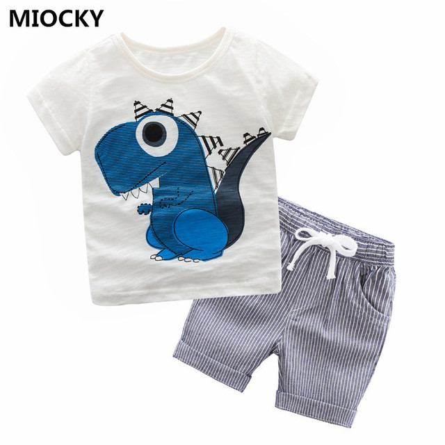 Dinosaur Print Baby Boy Clothes Ropa Short Sleeve Boys Outfits 2 PCS Summer Children Clothing Set Baby Girls Clothes D0748