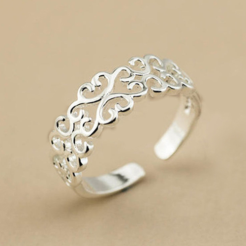 Women Fashion Hollow Love Heart Adjustable Jewelry Silver Plated Open Ring Gift