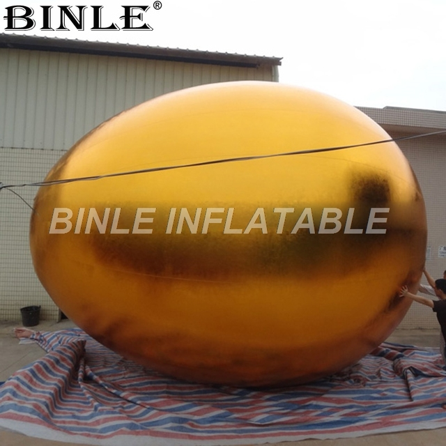 High quality new attractive 3m 6m giant inflatable easter egg with shinning golden color for outdoor decoration