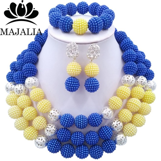 Fashion african jewelry beads Royal Blue plastic nigerian wedding african beads jewelry set Free shipping Majalia-262