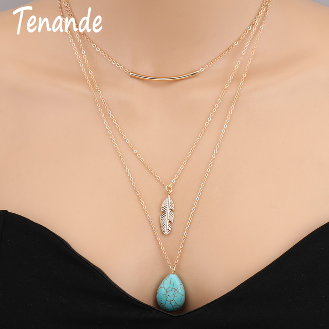 Tenande New Statement Multi Layer Gold Color Bohemian Natural Stone Beads Stripe Leaf Water Droplets Necklaces & Pendants Women