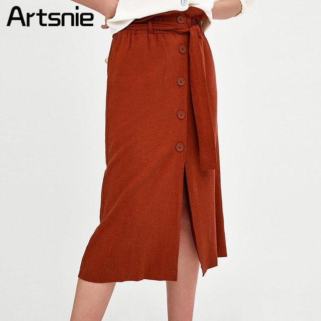 Artsnie Elegant Ruffles Button Maxi Long Skirts Women Spring Split Sashes High Waist Ladies Casual Cotton Streetwear Skirt Femme