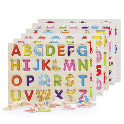 Baby Hand Grasp Wooden Puzzle Early educational Toys Tangram Jigsaw Board Cartoon letter fruit Animal color Puzzle Kids Toys