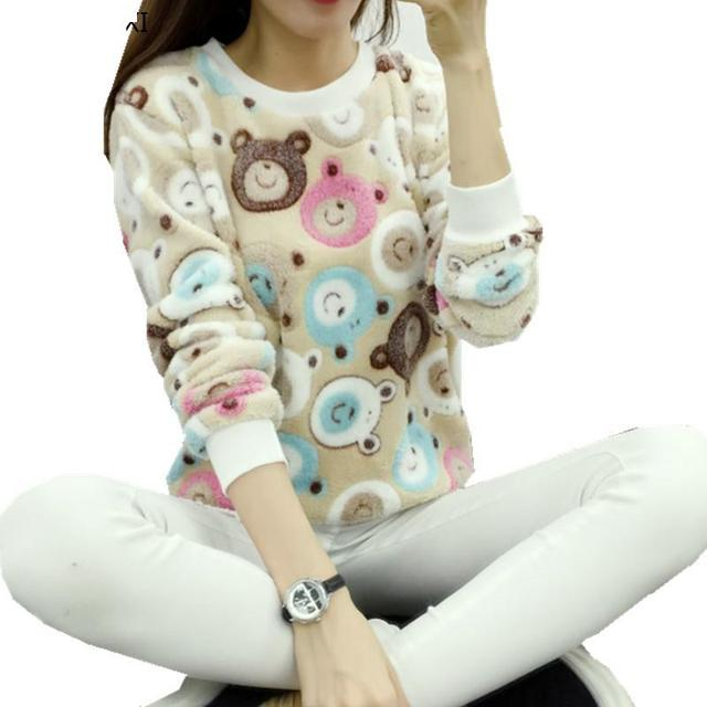 2018 Winter Harajuku Cute Panda Print Harajuku Sweater Women  Fashion Spring  High Quality Flannel Soft Pullover Sweater Tops