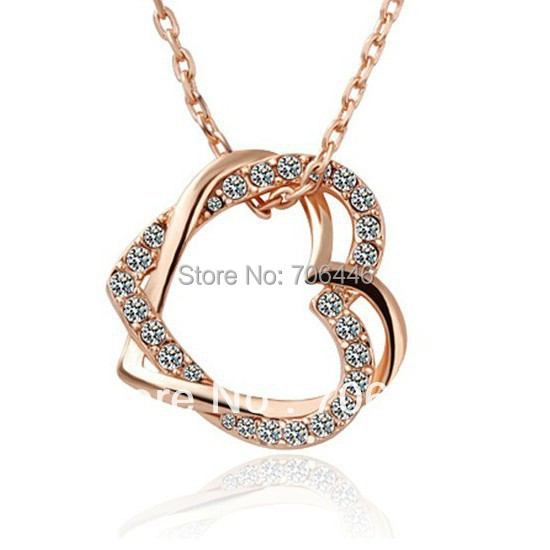 Rose Gold Enternal Rhinestone Crystal Diamante Heart Pendant Necklace Jewelry